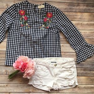 Anthropologie Tops - Mello Day Gingham Ruffle Sleeve Blouse